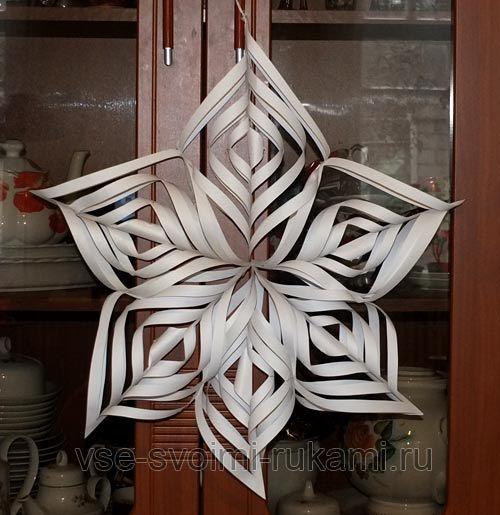 Як зробити об`ємну сніжинку з паперу - майстер клас