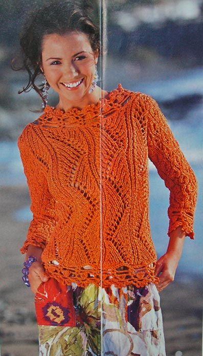 Гарний пуловер з ажурним візерунком