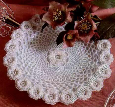 серветка гачком з квітами