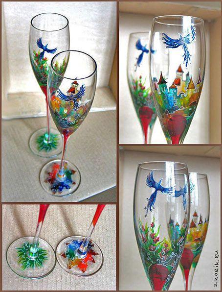 Розпис склянок вітражними фарбами від олени єфремової
