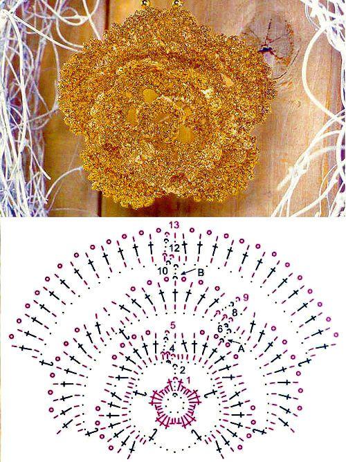 Квітка у вигляді брошки - в`язання гачком