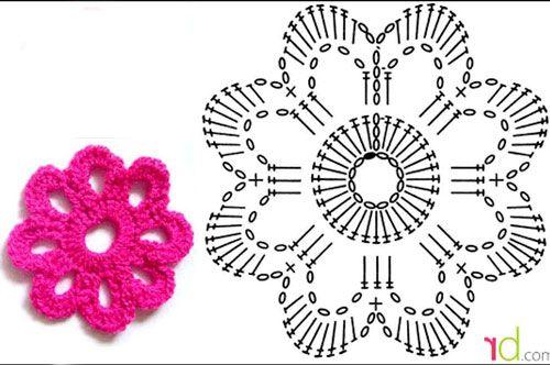 Простий квітка гачком - схема в`язання